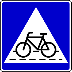 Traffic sign of Bosnia-Herzegovina: Crossing for cyclists