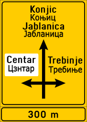 Traffic sign of Bosnia-Herzegovina: Information about the directions of the crossroad