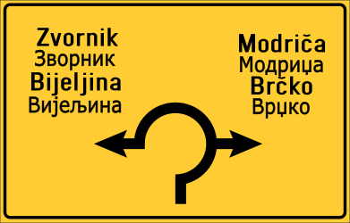 Traffic sign of Bosnia-Herzegovina: Information about the directions of the roundabout