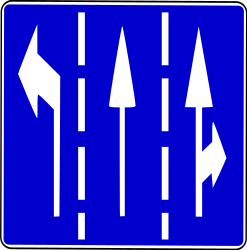 Traffic sign of Bosnia-Herzegovina: Overview of the lanes and their direction