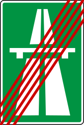 Traffic sign of Bosnia-Herzegovina: End of the motorway