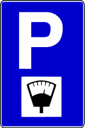 Traffic sign of Bosnia-Herzegovina: Parking only allowed if you pay