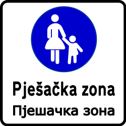 Traffic sign of Bosnia-Herzegovina: Begin of a zone for pedestrians