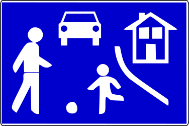 Traffic sign of Bosnia-Herzegovina: Begin of a residential area