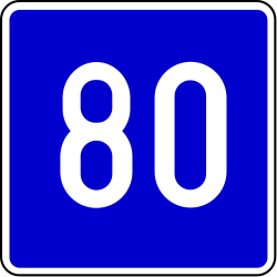 Traffic sign of Bosnia-Herzegovina: Recommended speed