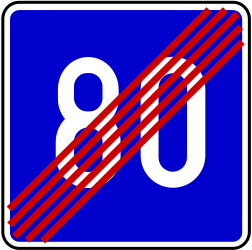 Traffic sign of Bosnia-Herzegovina: End of the recommended speed