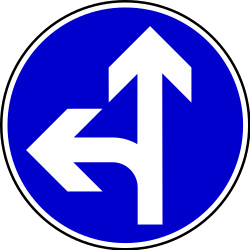Traffic sign of Bosnia-Herzegovina: Driving straight ahead or turning left mandatory