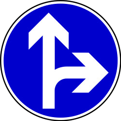 Traffic sign of Bosnia-Herzegovina: Driving straight ahead or turning right mandatory