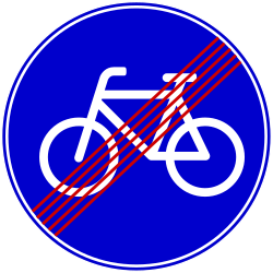 Traffic sign of Bosnia-Herzegovina: End of the path for cyclists