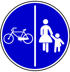 Traffic sign of Bosnia-Herzegovina: Mandatory divided path for pedestrians and cyclists