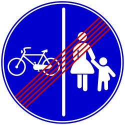 Traffic sign of Bosnia-Herzegovina: End of the divided path for pedestrians and cyclists