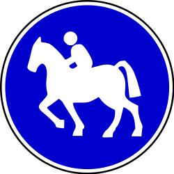 Traffic sign of Bosnia-Herzegovina: Mandatory <a href='/en/bosnia-herzegovina/overview/equestrian-path'>path for equestrians</a>
