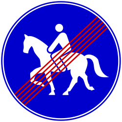 Traffic sign of Bosnia-Herzegovina: End of the path for equestrians