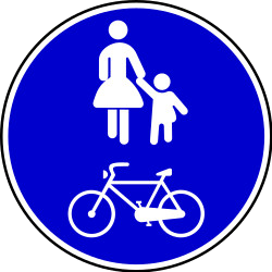 Traffic sign of Bosnia-Herzegovina: Mandatory shared path for pedestrians and cyclists
