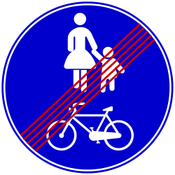 Traffic sign of Bosnia-Herzegovina: End of the shared path for pedestrians and cyclists