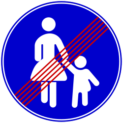 Traffic sign of Bosnia-Herzegovina: End of the path for pedestrians