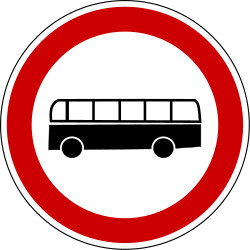 Traffic sign of Bosnia-Herzegovina: Buses prohibited