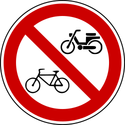 Traffic sign of Bosnia-Herzegovina: Cyclists and mopeds prohibited