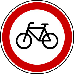 Traffic sign of Bosnia-Herzegovina: Cyclists prohibited