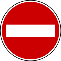 Traffic sign of Bosnia-Herzegovina: Entry prohibited (road with one-way traffic)