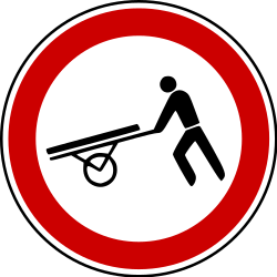 Traffic sign of Bosnia-Herzegovina: Handcarts prohibited