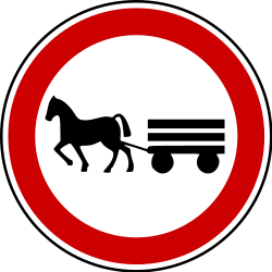 Traffic sign of Bosnia-Herzegovina: Horsecarts prohibited