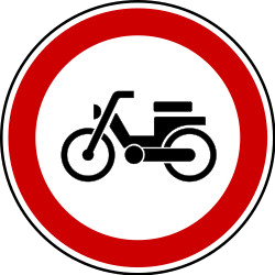 Traffic sign of Bosnia-Herzegovina: Mopeds prohibited