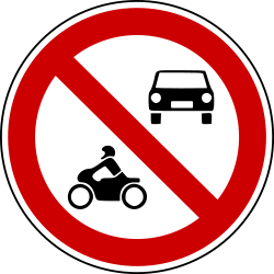 Traffic sign of Bosnia-Herzegovina: Motorcycles and cars prohibited