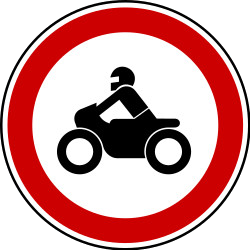 Traffic sign of Bosnia-Herzegovina: Motorcycles prohibited