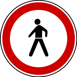 Traffic sign of Bosnia-Herzegovina: Pedestrians prohibited