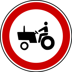 Traffic sign of Bosnia-Herzegovina: Tractors prohibited