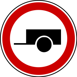 Traffic sign of Bosnia-Herzegovina: Trailers prohibited