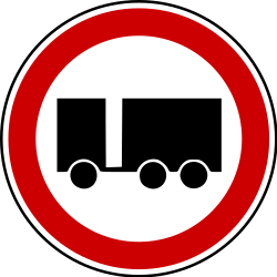Traffic sign of Bosnia-Herzegovina: Trucks with trailer prohibited