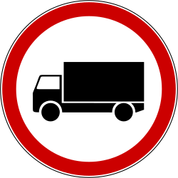 Traffic sign of Bosnia-Herzegovina: Trucks prohibited