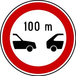 Traffic sign of Bosnia-Herzegovina: Leaving less distance than indicated prohibited