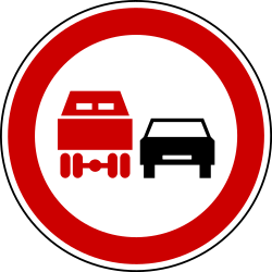 Traffic sign of Bosnia-Herzegovina: Overtaking prohibited for trucks