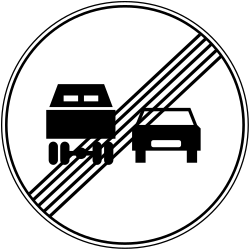 Traffic sign of Bosnia-Herzegovina: End of the overtaking prohibition for trucks