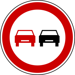 Traffic sign of Bosnia-Herzegovina: Overtaking prohibited