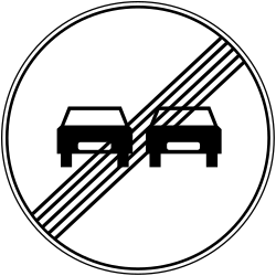 Traffic sign of Bosnia-Herzegovina: End of the overtaking prohibition