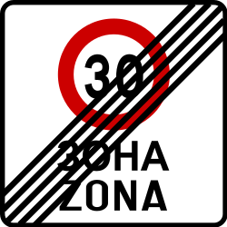Traffic sign of Bosnia-Herzegovina: End of the zone with speed limit