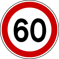 Traffic sign of Bosnia-Herzegovina: Begin of a speed limit