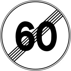 Traffic sign of Bosnia-Herzegovina: End of the speed limit