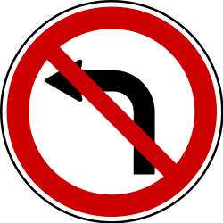 Traffic sign of Bosnia-Herzegovina: Turning left prohibited