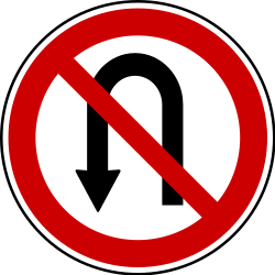 Traffic sign of Bosnia-Herzegovina: Turning around prohibited (U-turn)