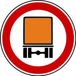 Traffic sign of Bosnia-Herzegovina: Vehicles with dangerous goods prohibited