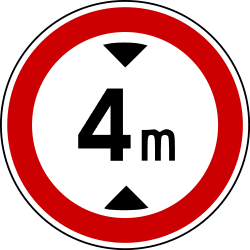 Traffic sign of Bosnia-Herzegovina: Vehicles higher than indicated prohibited