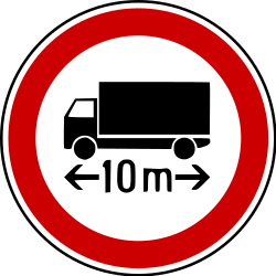 Traffic sign of Bosnia-Herzegovina: Vehicles longer than indicated prohibited