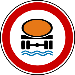 Traffic sign of Bosnia-Herzegovina: Vehicles with polluted fluids prohibited
