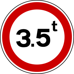 Traffic sign of Bosnia-Herzegovina: Vehicles heavier than indicated prohibited
