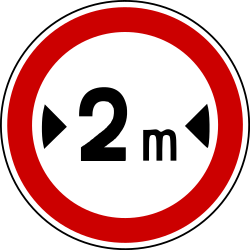Traffic sign of Bosnia-Herzegovina: Vehicles wider than indicated prohibited